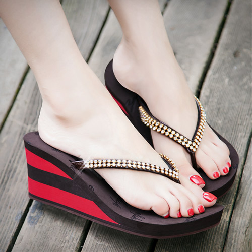 Bling Piping Wedge Sandals